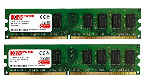 Komputerbay 2GB 2x 1GB DDR2 PC2 5300 667Mhz 240 Pin DIMM 2 GB KIT