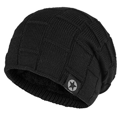 Bodvera Winter Knit Warm Hat Thick Soft Fleeced Slouchy Beanie Ski Skully Cap Men & Women