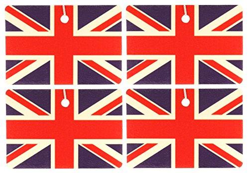 Set of Four British Flag Air Fresheners, Horizontal, Grapefruit and Sage ()