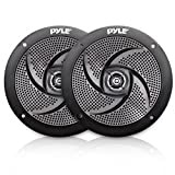 Low-Profile Waterproof Marine Speakers - 100W 4 Inch 2 Way 1 Pair Slim Style Waterproof and Weather Resistant Outdoor Audio Stereo Sound System, for Boat, Off-Road Vehicles - Pyle (Black)