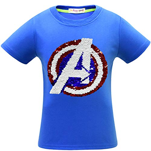 Flip Sequins for Boys Kids Girls Magic Sequin Cotton T-Shirt Tops 3-8 Years (Size 3-8) (6-7 Years, Z9 The Avengers)