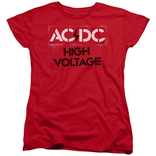 Trevco ACDC High Voltage Stencil Women's T Shirt, X-Large Red