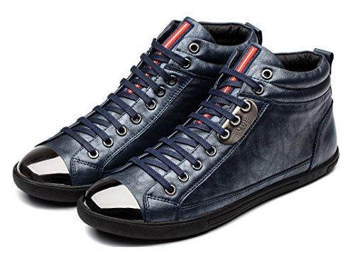 OPP Mens Casual Genuine Leather Specificity of Metal Accessories Design Mid-top Lace-up Shoes (8.5D(M) US, Blue)