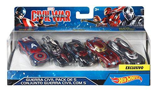 Hot Wheels Marvel Captain America Civil War Character Car (5 Pack) (The Cast Of Captain America Civil War)