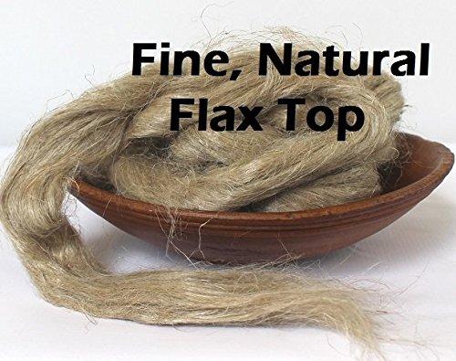 - 2oz Fine Flax Spinning Fiber Combed Top Vegan Plant Fiber for Spinning Fibre Roving Undyed Natural Sliver for Spinning Blending Dyeing