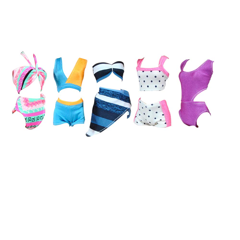 E-TING 5 Sets Handmade Swimwear Beach Bikini Bathing Swimsuits Outfits for Girl Dolls Gift