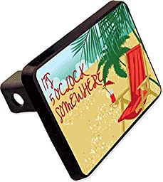 It\'s 5 o\'clock Somewhere Trailer Hitch Cover Plug Funny Beach Drinking Novelty
