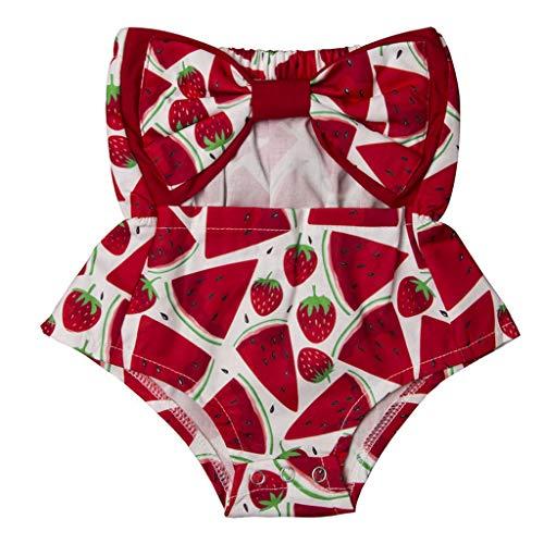 B. Bone Toddler Baby Girls Off Shoulder Bow Cotton Jumpsuit Sleeveless Kids Lovely Bodysuit(Multi,12M)