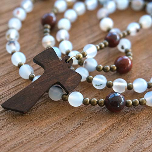 (Franciscan Crown Rosary handmade with Agate, Jasper, and a Wood Tau Cross by Holy Rocks)