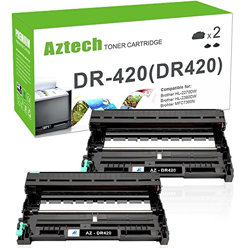 AZTECH Compatible Toner Cartridge Replacement for Brother DR420 DR-420(Black, 2-Packs)