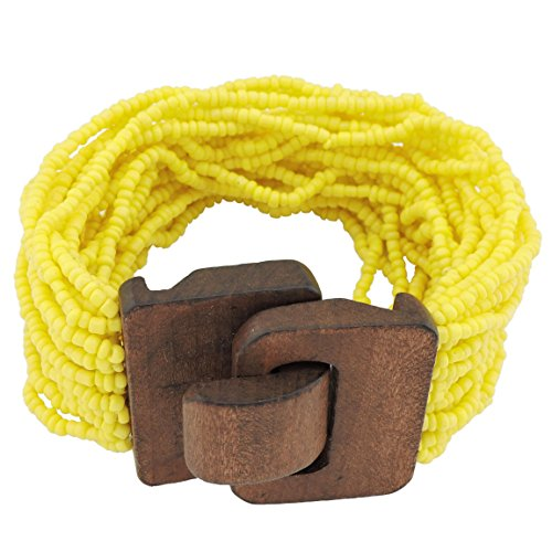 Coiris Wooden Buckle Clasp Multi Layers Beads Wide Bracelet for Women With Elastic (BR1167-yellow) (Wooden Bangle Bracelets)