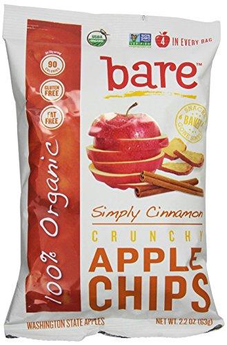 Голый Органическая Корица яблочные чипсы, без глютена + Запеченный, 2,2 унции пакеты (пакет из 12)