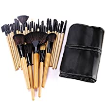 BESTOPE 32PCs Professional Makeup Brushes Set Synthetic Kakubi Cosmetic Foundation Blending Blush Eyeliner Face Powder Mac Makeup Brush Kit with Leather Traverl Pouch Bag Case