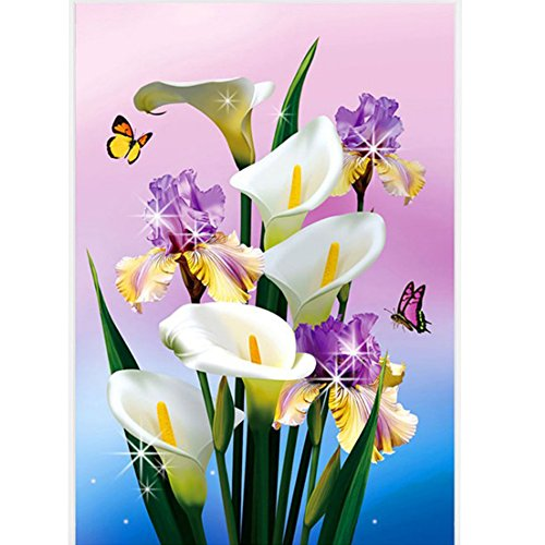 "DIY 5D Full Round Diamond Painting Cross Stitch Flowers White Calla Lily Diamond Embroidery Canvas Painting Diamond Mosaic Rhinestones 12""X16"""