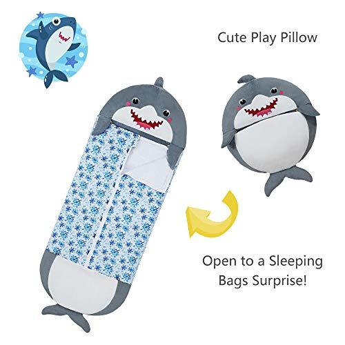 XMWEALTHY Sleeping Bag for Kids Girls Warm Sleeping Bag with Pillow Shark Stuffed Animal Cartoon Boys Children's Gifts Soft All-Season One Size 54 inchX 20 inch