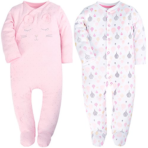 Front Footed Sleeper Snap (ShengHai Baby Girl Cute 2 Pack Pajamas Baby Pink Cat Printing Footed Sleeper Long Sleeve Cotton Romper 18-24 Months)