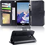 LG Stylo 3 Case, LG Stylo 3 Plus Case, Arae LG G Stylo 3 wallet Case with Kickstand and Flip cover, Black