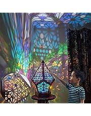SEAYUN Polar Star stor golvlampa, vintage geometrisk bohemisk stil, 3D-prisma projektion nattlampa med USB-laddning, fest bröllop jul dekorativa presenter