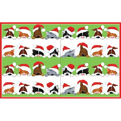 Entertaining With Caspari Cats And Dogs Peeking Christmas Cards With  Unlined Envelopes, Box Of 16