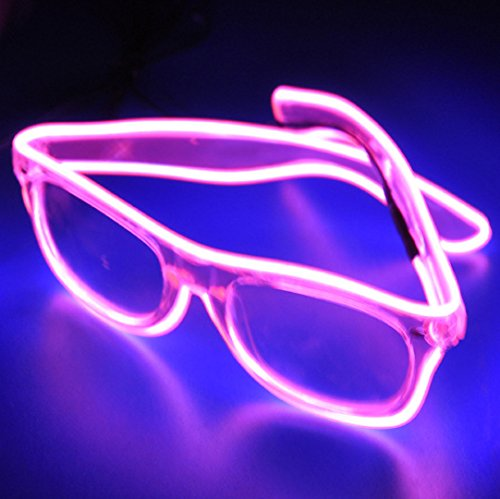 TILO LED Rave Sunglasses White Multicolor Frame EL Wire Glow Colorful Flashing Safety Light up Glasses for Festivals DJ Bright Light Holiday Gift (Fast Halloween Costumes Last Minute)