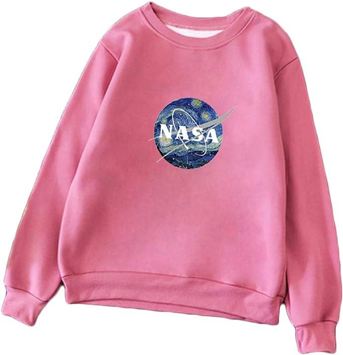 CORIRESHA Fresh Color Block NASA Print Pullover Sweatshirt