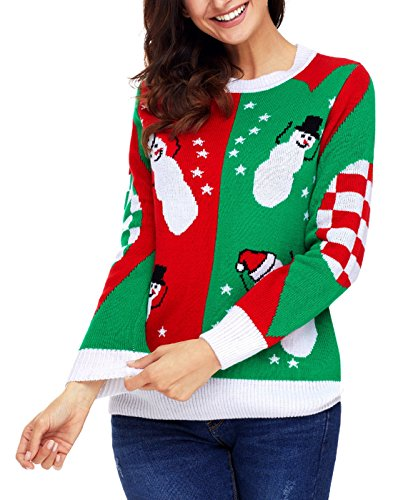 - Dearlove Women Ugly Christmas Sweater Snowman Snowflakes Long Sleeve Crew Neck Knit Pullover Tops Green Red M 8 10