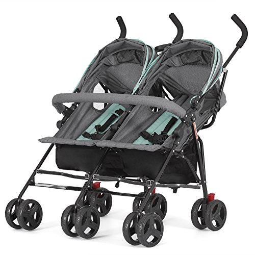 51wzI7LaDqL - Dream On Me Volgo Twin Umbrella Stroller, Mint/Dark Grey