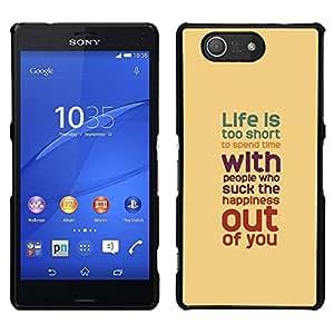 EJOY---Cubierta de la caja de protección para la piel dura ** Sony Xperia Z3 Compact ** --La vida es demasiado corta melocotón del trullo rojo púrpura