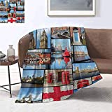 smllmoonDecor England Super Soft Lightweight Blanket England City Red Telephone Booth Clock Tower Bridge River British Flag with Flowers Lightweight Blanket Extra Big 60