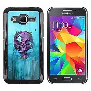 Be Good Phone Accessory // Dura Cáscara cubierta Protectora Caso Carcasa Funda de Protección para Samsung Galaxy Core Prime SM-G360 // Biker Graffiti Skull Death Deep Rock