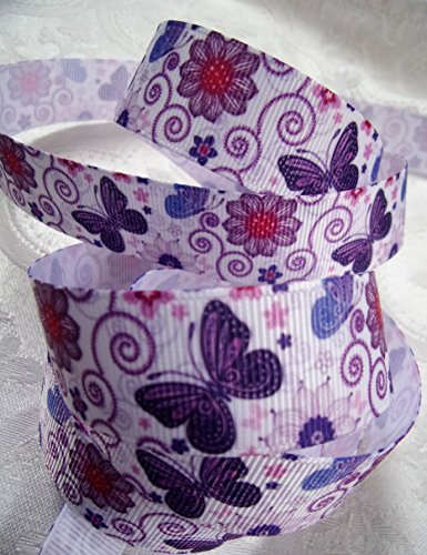 Grosgrain Ribbon - Purple Butterfly Print - 7/8 Inch Wide, 10 Yards - Hair Bows, Decorating, Crafts & Sewing! ()