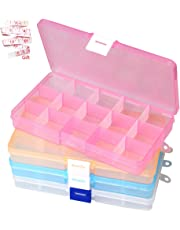 pengxiaomei 4 Pack Bead Storage Box,Clear Plastic Earring Organizer Jewelry Storage Boxes with 15 Compartments Adjustable Dividers Containers