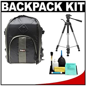 Vidpro BP-200 Photo Pack Digital SLR Camera Backpack Case (Sage/Black) with Deluxe Tripod + Cleaning Kit for Canon Rebel T3, T3i, T1i, T2i, EOS 60D, 5D, 7D, Nikon D3000, D3100, D5000, D5100, D7000, D300s, Olympus Evolt E-5, E-30, E-620 & Sony Alpha A560, A580, A33, A35, A55