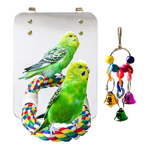 suruikei 7 Inch Bird Mirror with Rope Perch Cockatiel Mirror Parrot Swing Toys Parrot Cage Toys for Parakeet Cockatoo Cockatiel Conure Lovebirds Finch Canaries (Set 1)