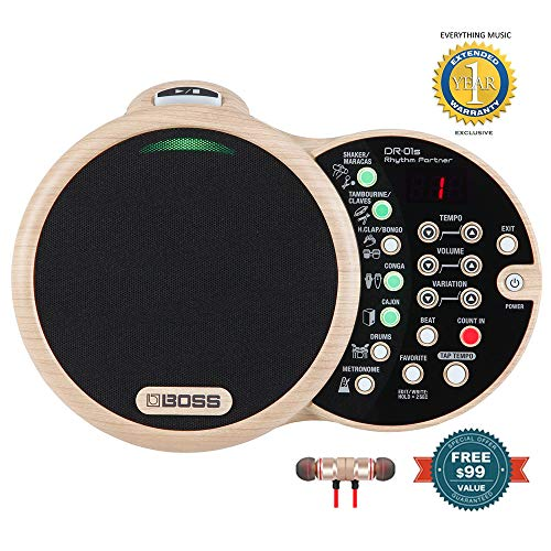 BOSS DR-01S Rhythm Partner Organic Groove Machine and Speaker Includes Microfiber and 1 Year Everything Music Extened Warranty