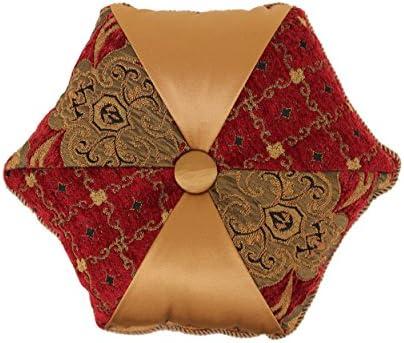 Austin Horn Classics Montecito Royale Tambourine Round Pillow, Red Gold
