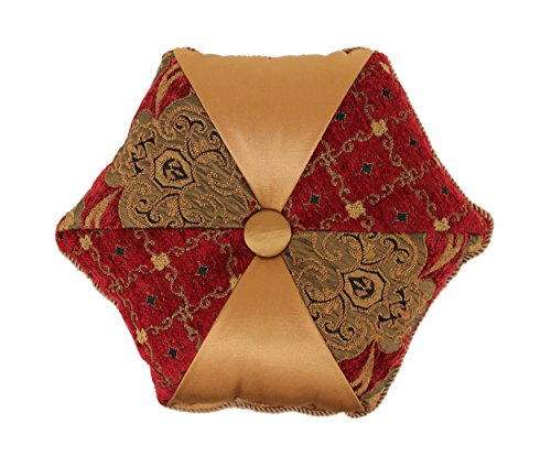 Austin Horn Classics Montecito Royale Tambourine Round Pillow, Red/Gold