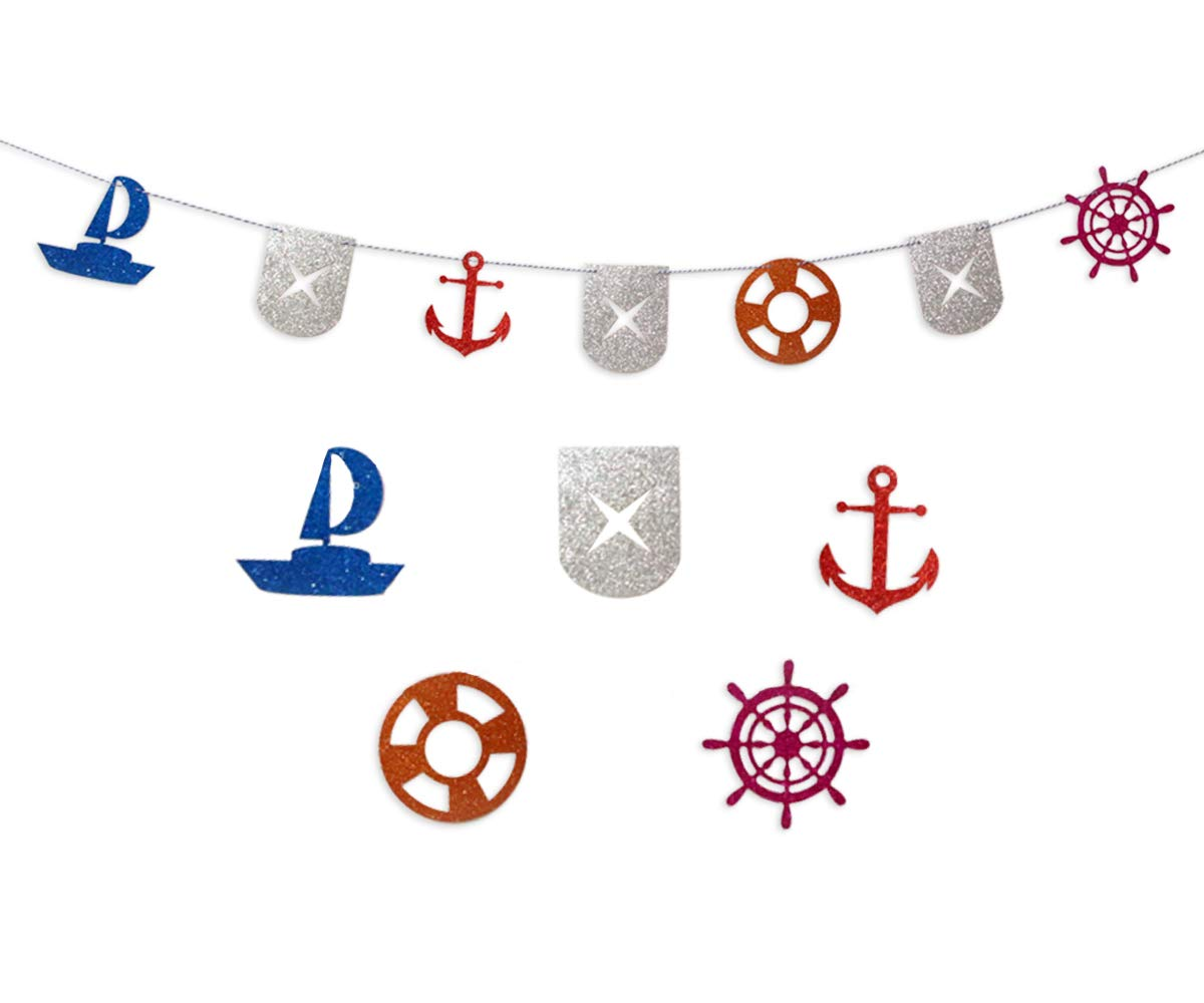 KAPOKKU Nautical Bunting Banner, Nautical Party Decorations Supplies, Pennant Banners for Kids Birthday Party, Baby Shower (Nautical)