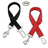 Golvery 2 Packs Adjustable Pet Dog Cat Car Seat Belt Safety Leads Vehicle Seatbelt Harness, Made from Nylon Fabric, Durable - Restraint Harness Adjustable 19-31 Inch - Black & Red