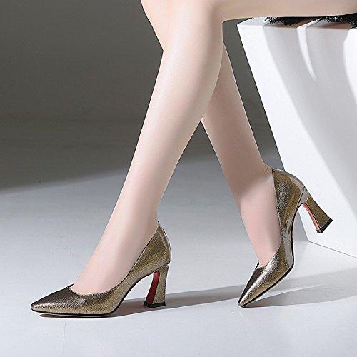 Chaussures Quatre DKFJKI Talons golden Chaussures Hauts Talons Habillées Chaussures Bouche Profonde Hauts Mode Talons Saisons à Sauvage Chaussures Peu Robe Pointus rwY7qnvr