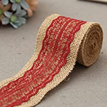 Gilroy 2M Natural Jute Burlap Hessian Ribbon with Lace Trims Tape Rustic DIY Wedding Decor (Wine Red)