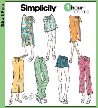 Amazon.com: Simplicity 5063 Sewing Pattern One Hour Bottoms: Wrap ...