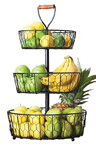 Handcrafted Rustic Wrought Iron 3-Tier Chicken Wire Countertop Basket for Fruit, Vegetables or Cosmetics by Basket Stand (Image #2)