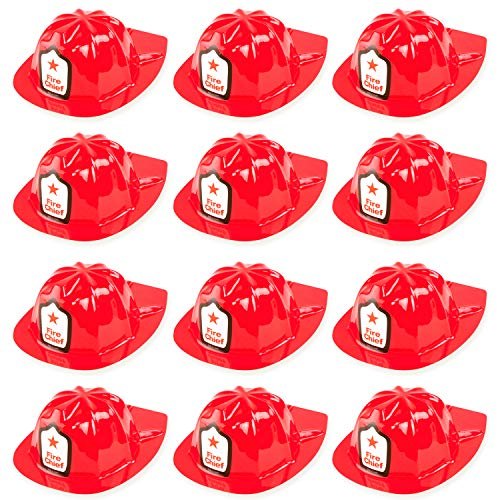 Super Z Outlet 12 Pack Red Firefighter Children's Fireman Soft Plastic Helmet Dress Up Party -