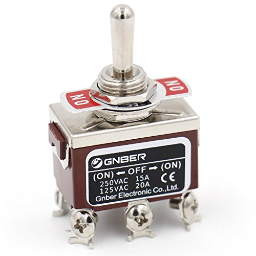 Baomain Toggle Switch DPDT Momentary ON/OFF/ON 3 Position AC 15A/250V 20A/125V 6 Screw Terminals