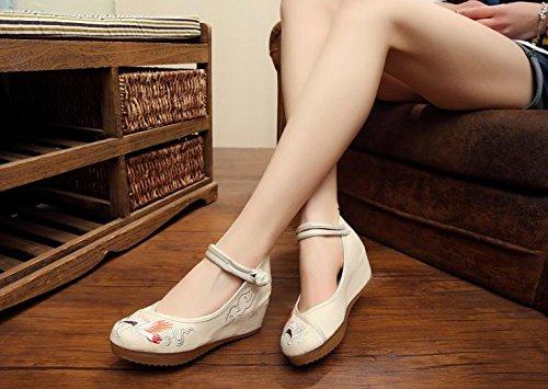 Bordados Manera Del Femeninos Lino Zll Tendón Cómodo Aumentados Beige Zapatos Lenguado Étnico Estilo Ocasional vwxqT56