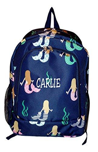 High Fashion Print Medium Sized Backpack - Custom Personalization Available (Mermaid Navy - Embroidered - Backpacks Mesh Custom