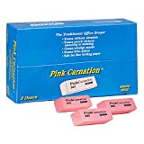 """Dixon Pink Carnation Erasers, Small, 2"""" x 3/4"""" x 7/16"""", Box of 36 Erasers (38920)"""