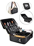 Portable Makeup Bag Professional Makeup Case Travel Cosmetic Toiletry Organizer with Shoulder/Pull rod Sleeve/Mirror Waterproof for Gift Festival Surprise (Large, Black) Review