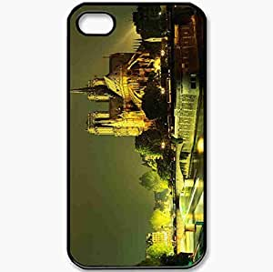 Protective Case Back Cover For iPhone 4 4S Case Notre Dame Paris France Cathedral Night River Black